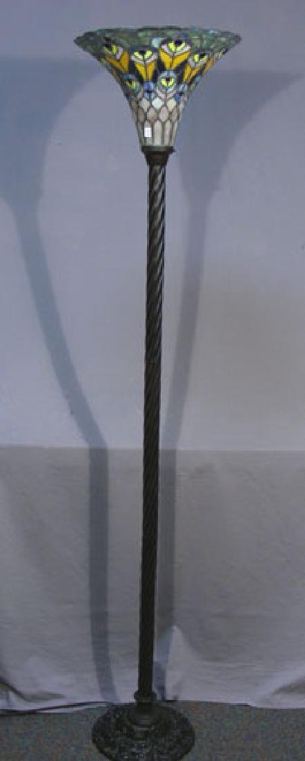 TALL METAL AND LEADED GLASS PEACOCK TORCHERE FLOOR LAMP