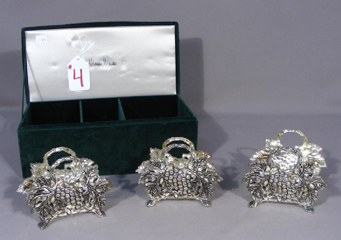 BOXED NEIMAN MARCUS SILVER PLATED NAPKIN & KNIFE HOLDER