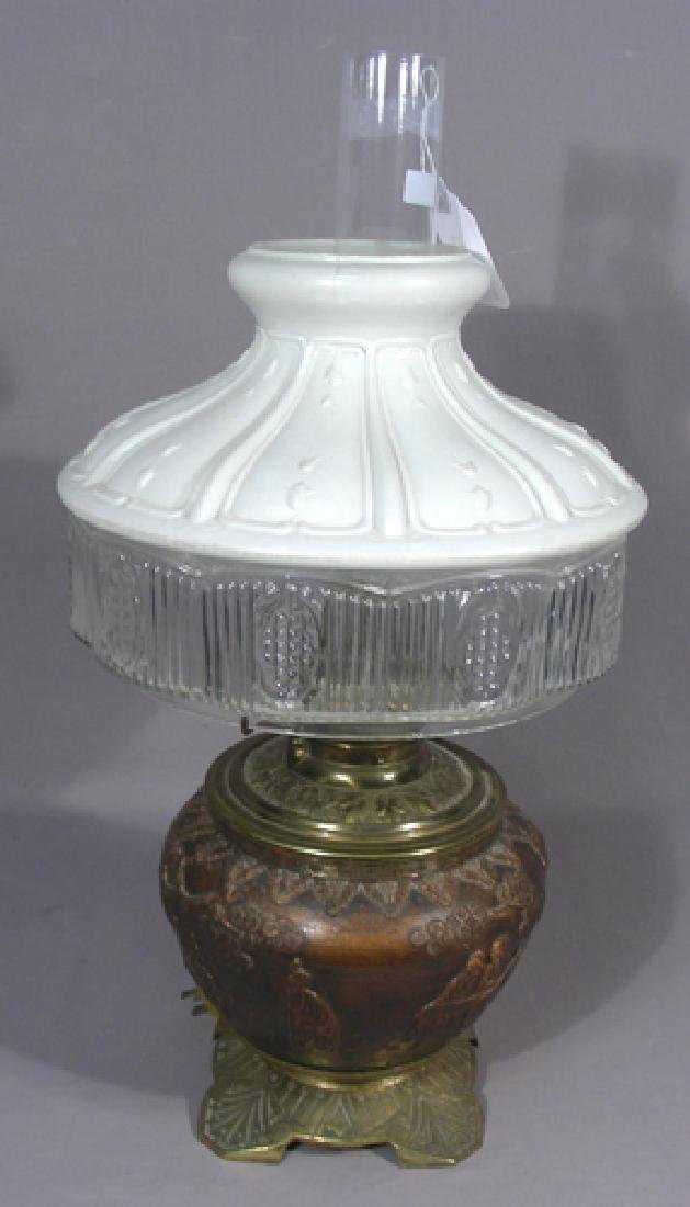 VINTAGE CHINESE COPPER TABLE LAMP WITH ORIENTAL SCENE