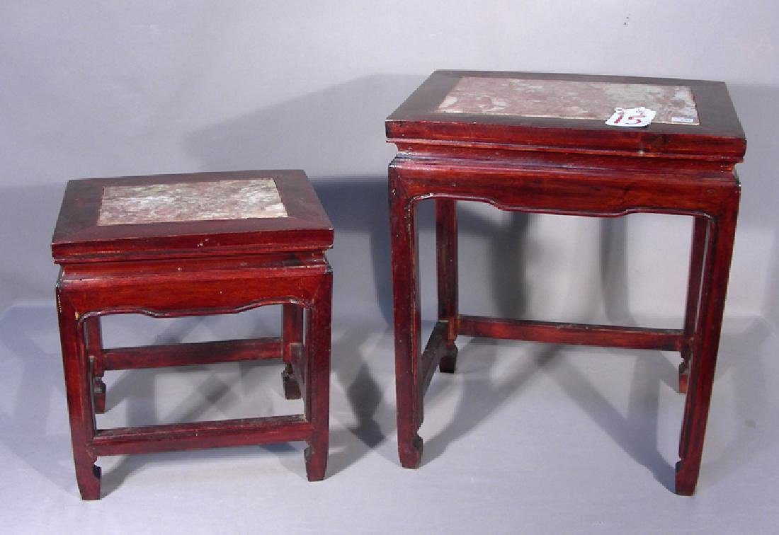PAIR VINTAGE CHINESE ROSEWOOD STACK TABLES WITH MARBLE