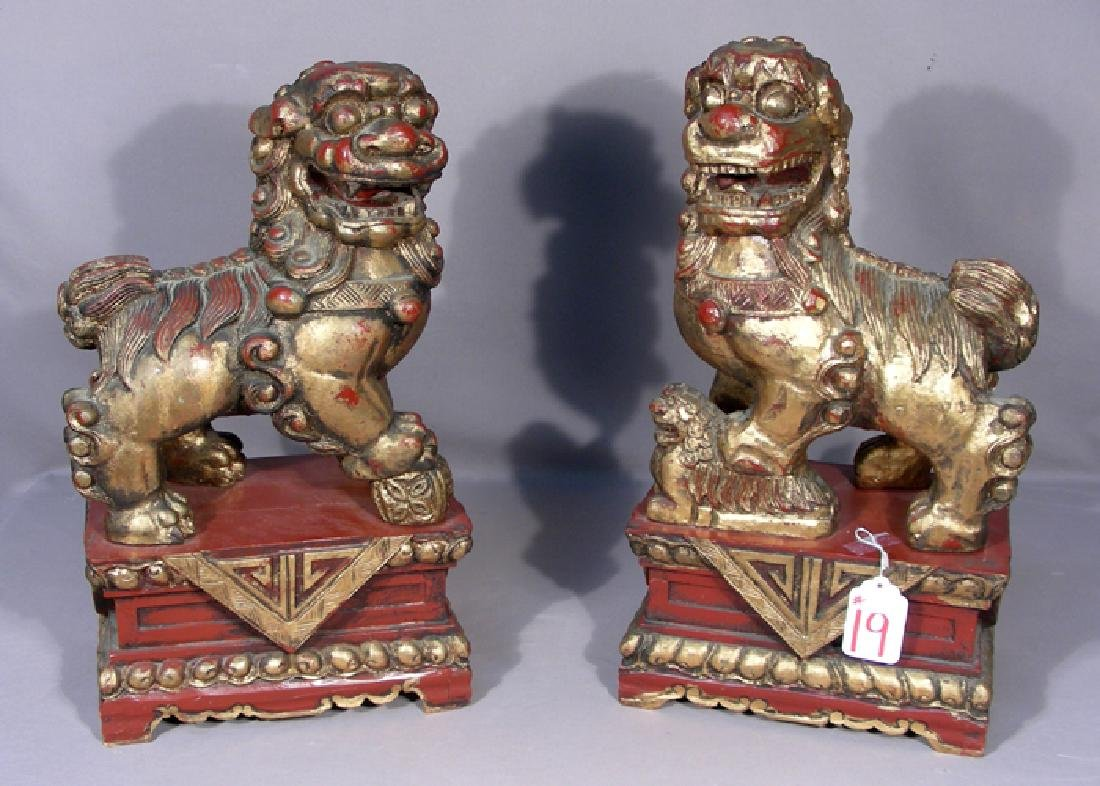 PAIR VINTAGE HAND CARVED CHINESE WOODEN FOO DOGS