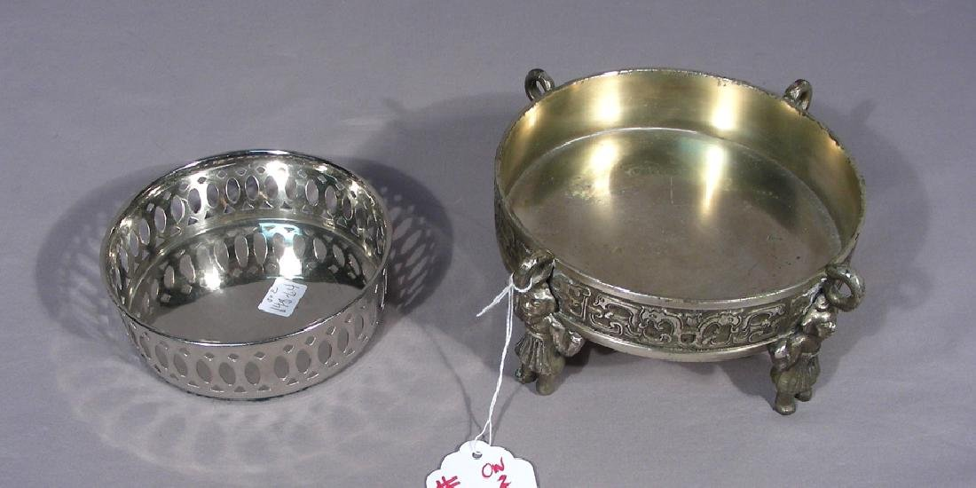 PAIR VINTAGE SILVER PLATED WINE CASTERS