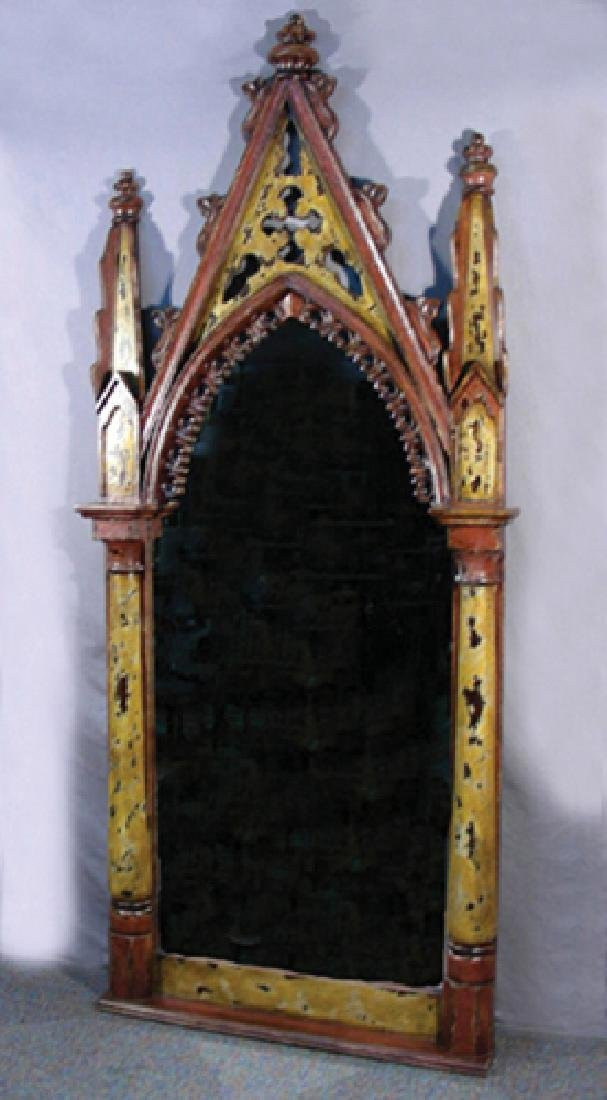 LARGE HAND CARVED AND PAINTED GOTHIC STYLE MIRROR