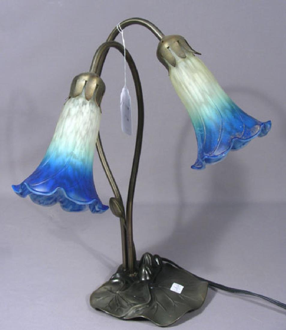 METAL AND ART GLASS TULIP LAMP