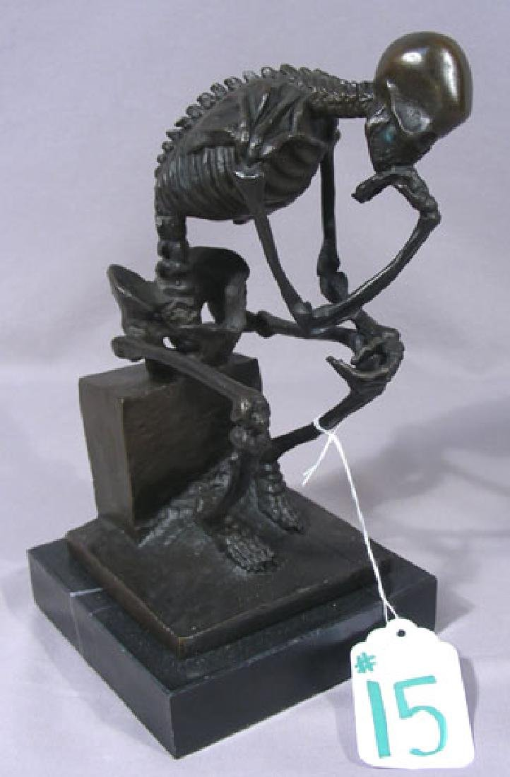 "HUMOROUS BRONZE SKELETON SCULPTURE ""TO MUCH THINKING"""