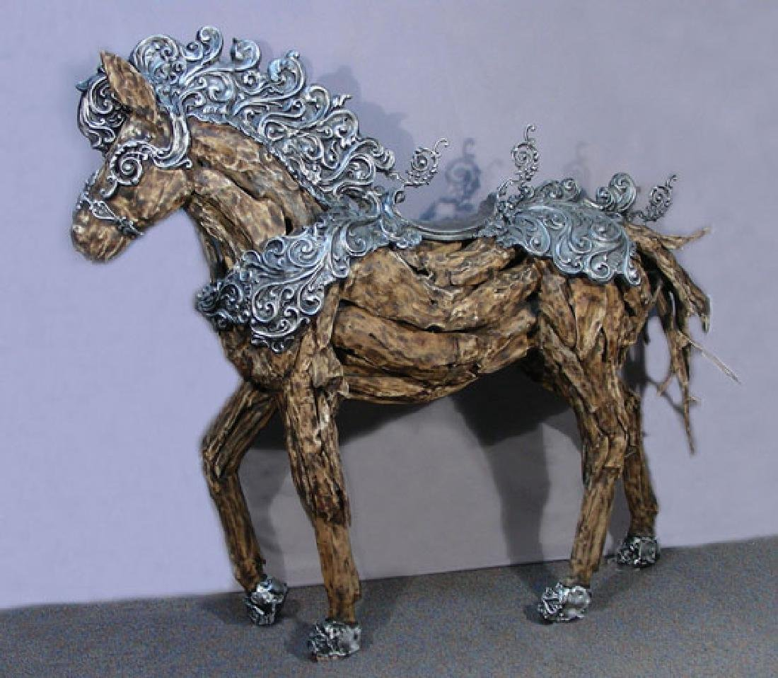 SPECTACULAR CUSTOM MADE LIFE SIZE WOODEN HORSE WITH