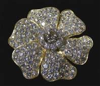 VINTAGE VAN CLEEF & ARPELS 18K Y.G. AND DIAMOND BROOCH