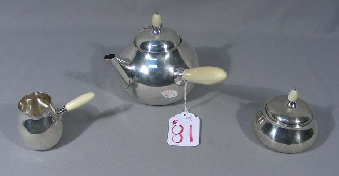 RARE GEORG JENSEN STERLING SILVER TEA SET