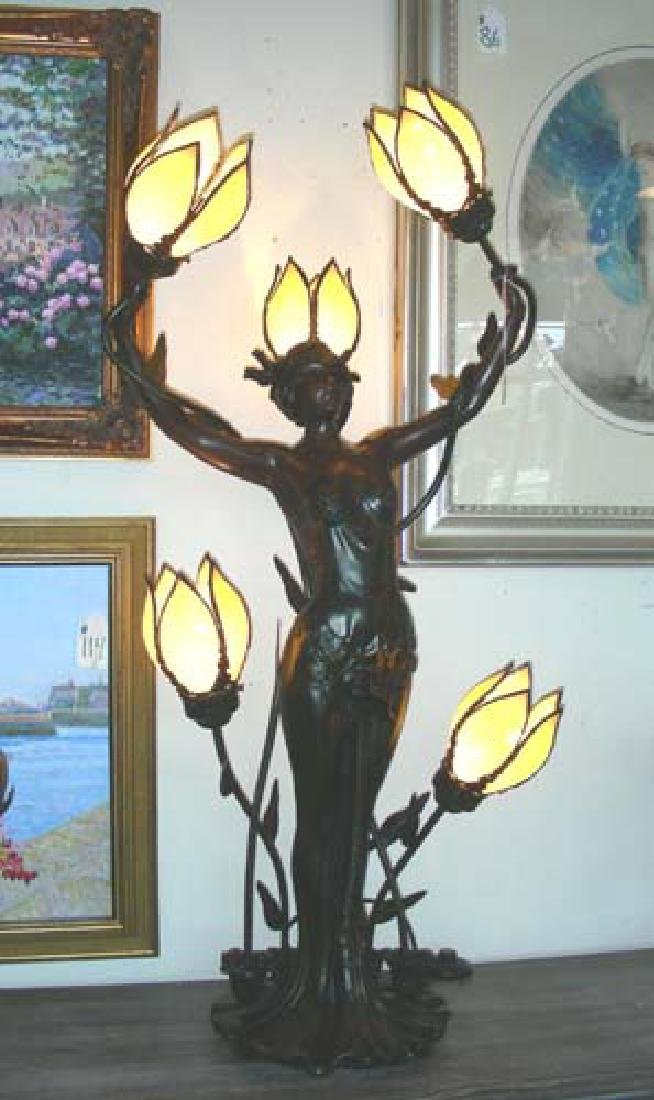 HEAVY HAND PAINTED FIGURAL LAMP WITH SLAG GLASS SHADES.
