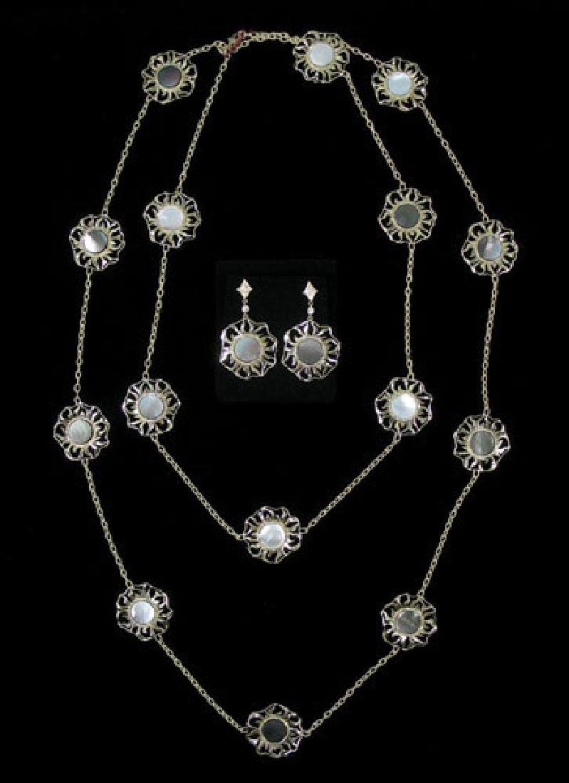 DESIGNER DORIS PANOS 18K Y.G., M.O.P & DIAMOND ENSEMBLE