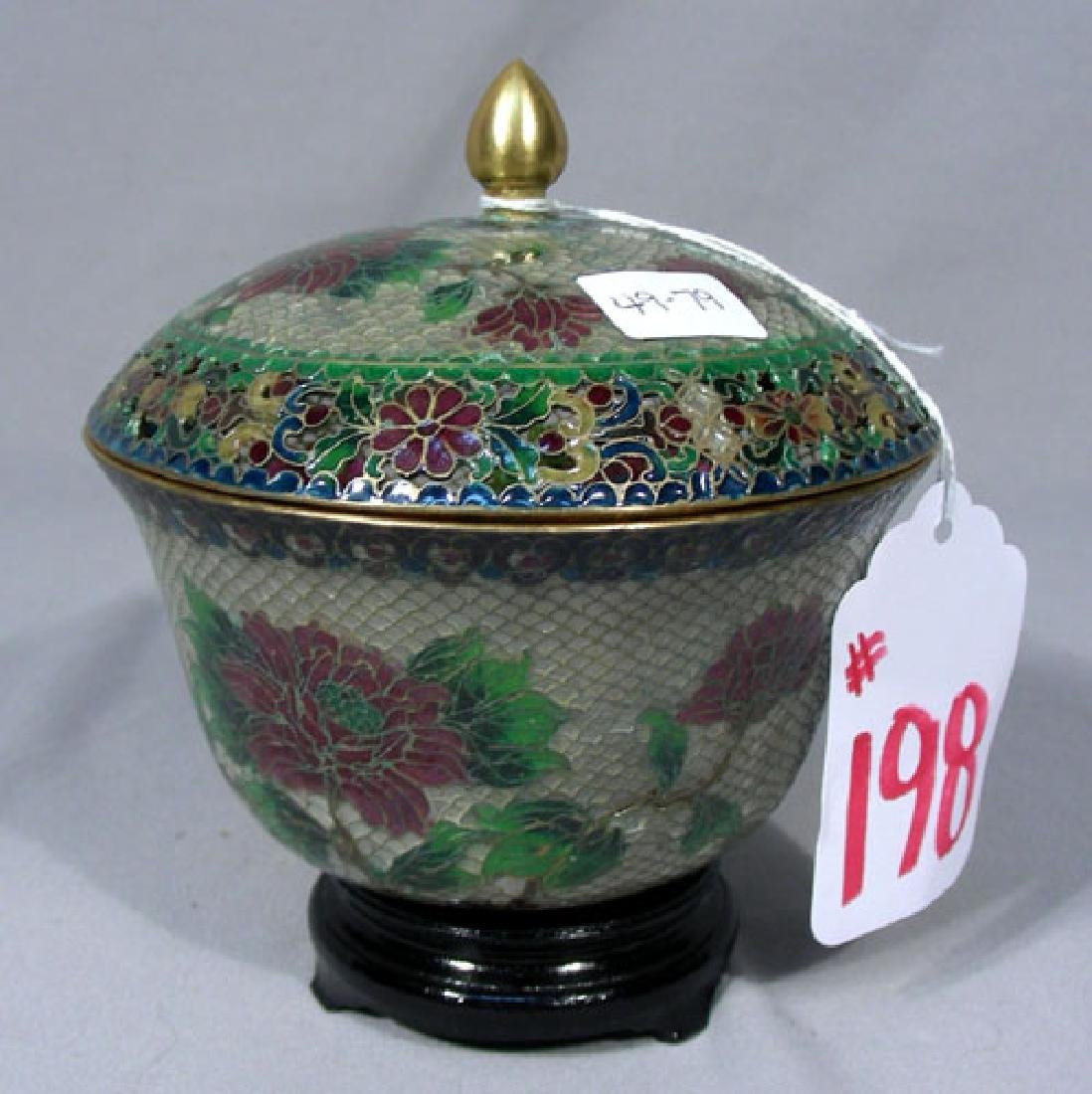 CHINESE PLIQUE A JOUR COVERED BOWL WITH STAND