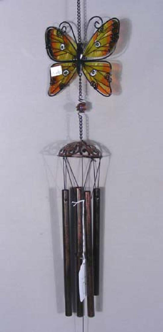 METAL AND GLASS BUTTERFLY WINDCHIME