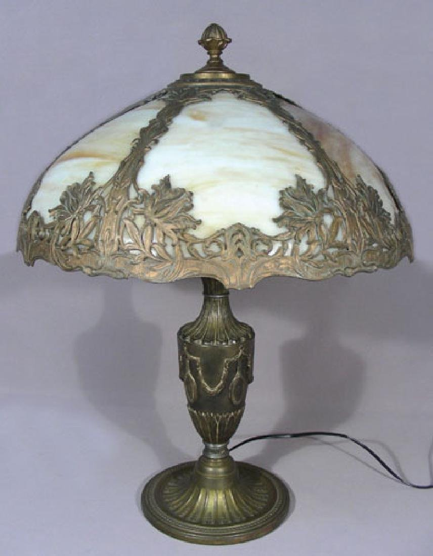 ANTIQUE METAL AND SLAG GLASS TABLE LAMP