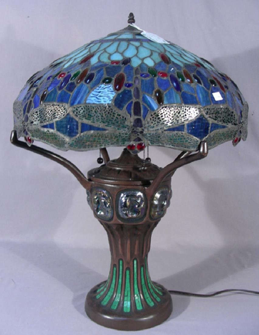 TIFFANY STYLE METAL AND LEADED GLASS DRAGONFLY LAMP
