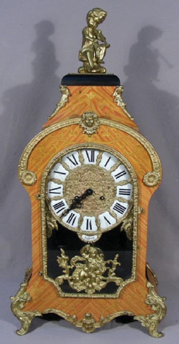 LARGE INLAID WOOD AND BRONZE MANTLE CLOCK