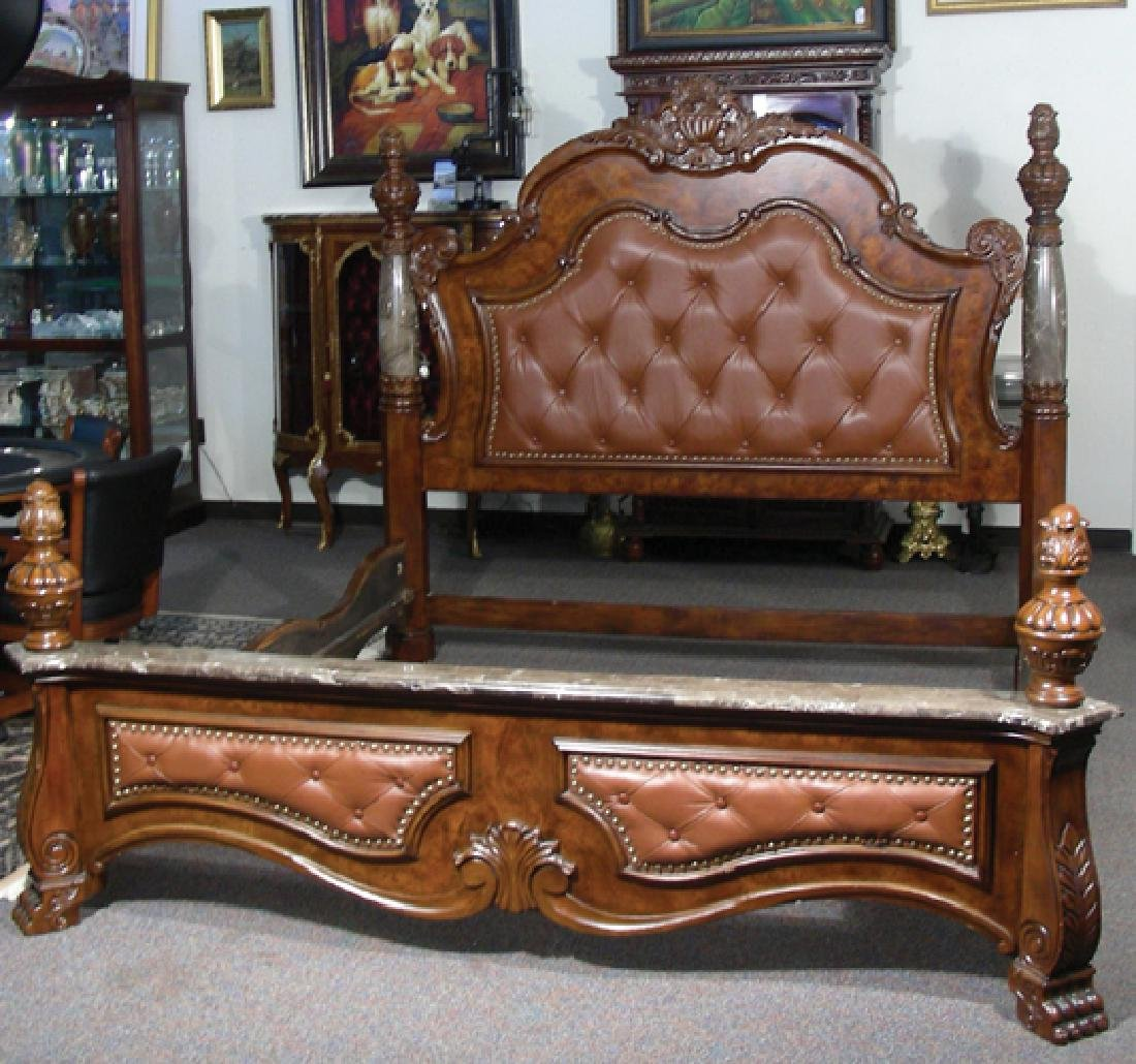 HEAVY CARVED KING SIZE BED WITH TUFTED LEATHER & MARBLE