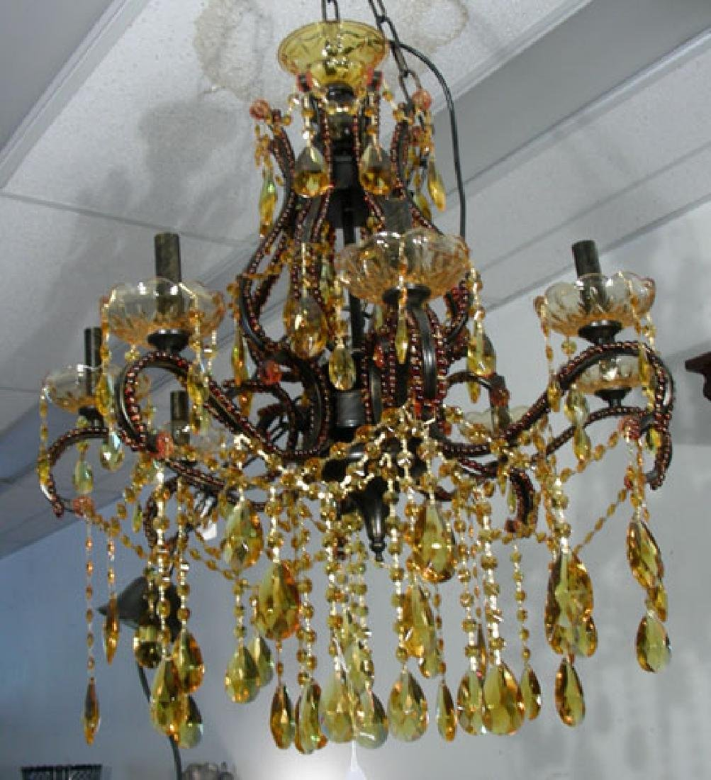 AMBER CRYSTAL EIGHT LIGHT CHANDELIER