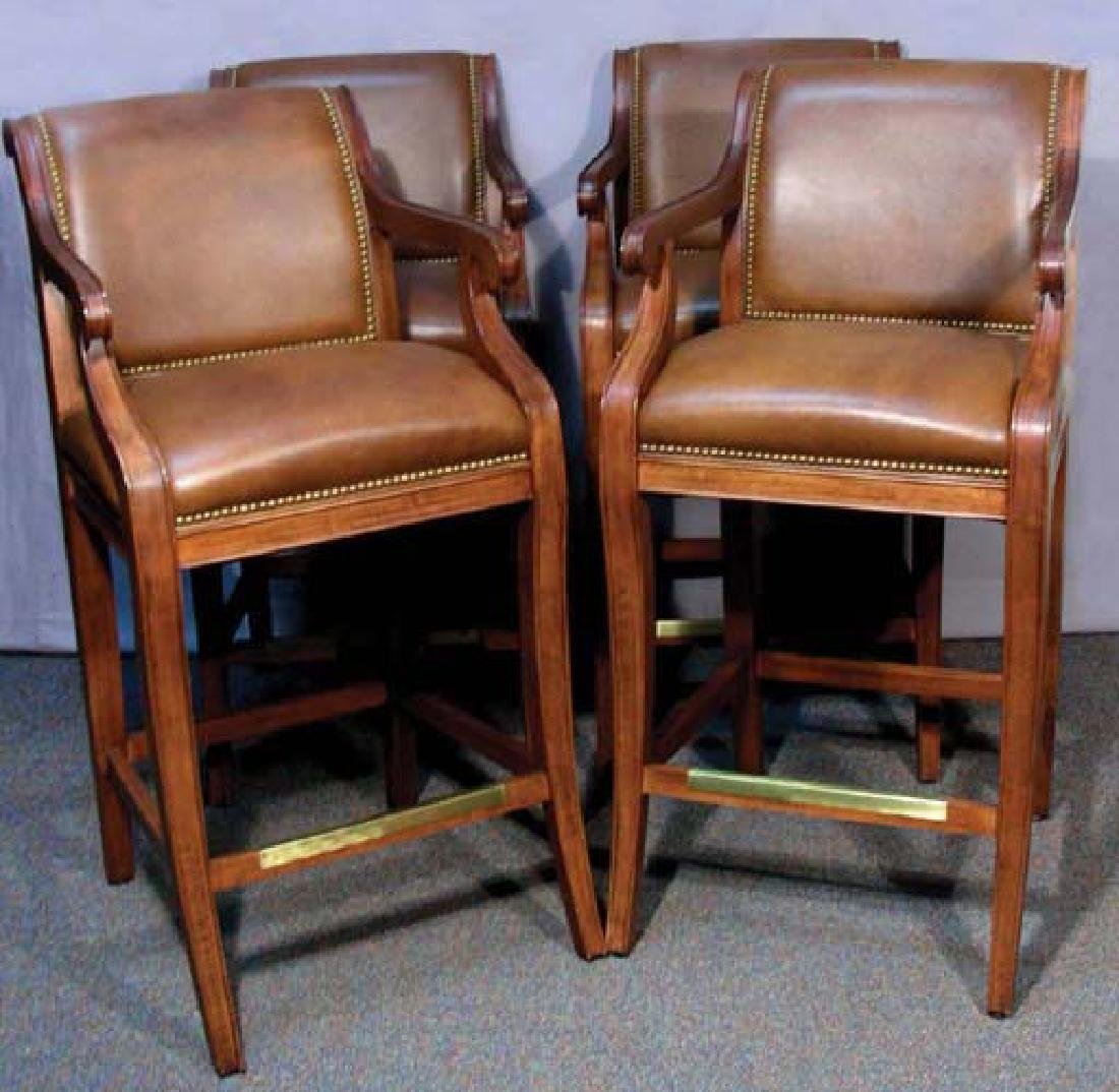 """FOUR """"HANCOCK AND MOORE"""" BAR CHAIRS"""