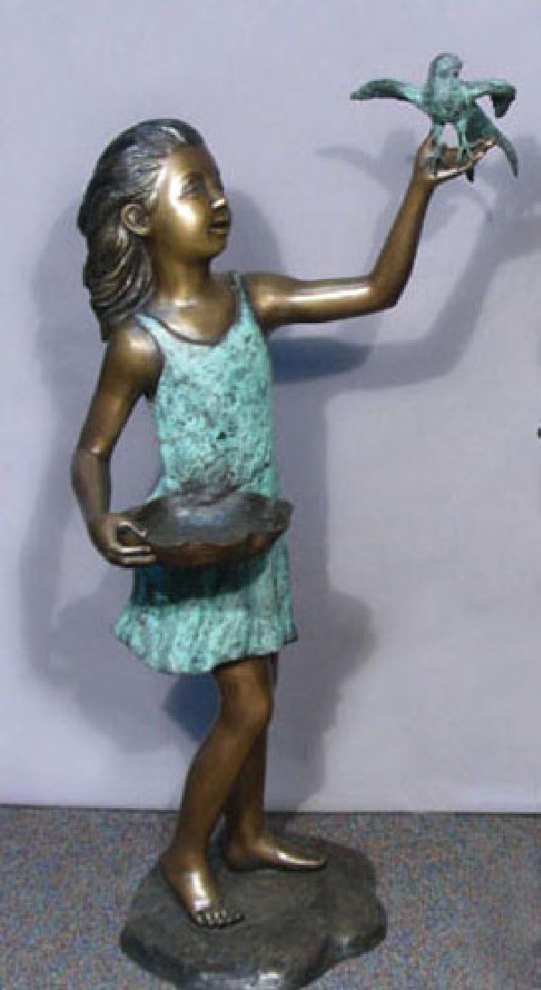 ADORABLE BRONZE SCULPTURE OF YOUNG GIRL HOLDING BIRD