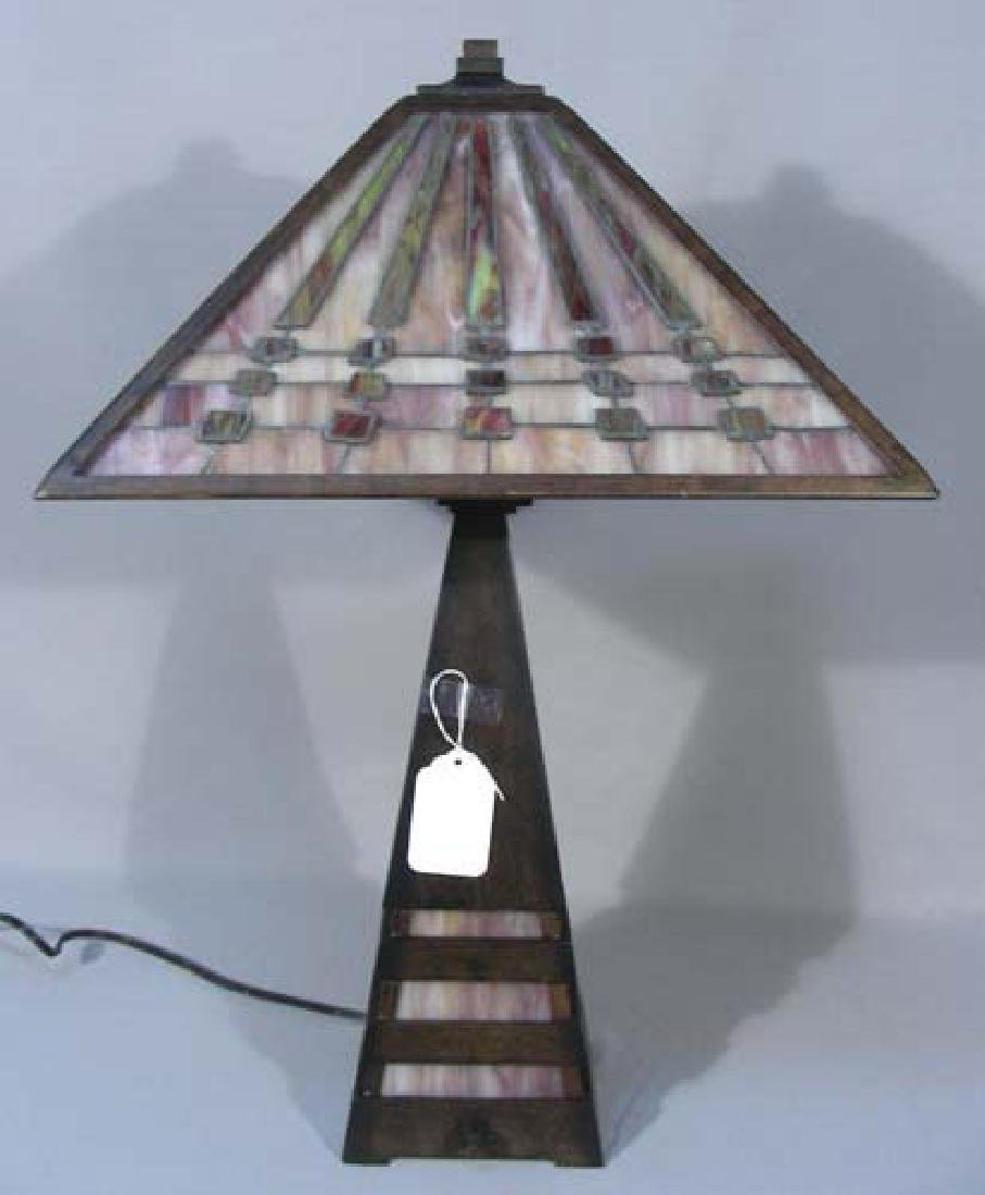ARTS & CRAFTS METAL AND LEADED GLASS TABLE LAMP