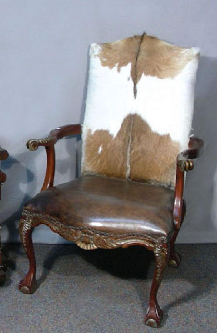 VERY FINE CUSTOM MADE WOODEN ARMCHAIR WITH LEATHER &
