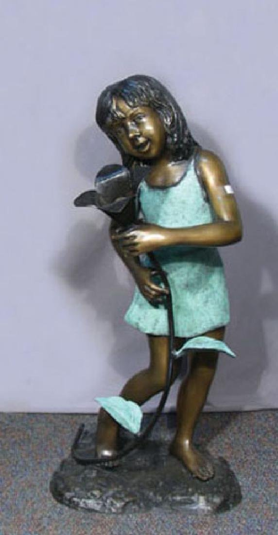 ADORABLE BRONZE SCULLPTURE/FOUNTAIN OF YOUNG GIRL