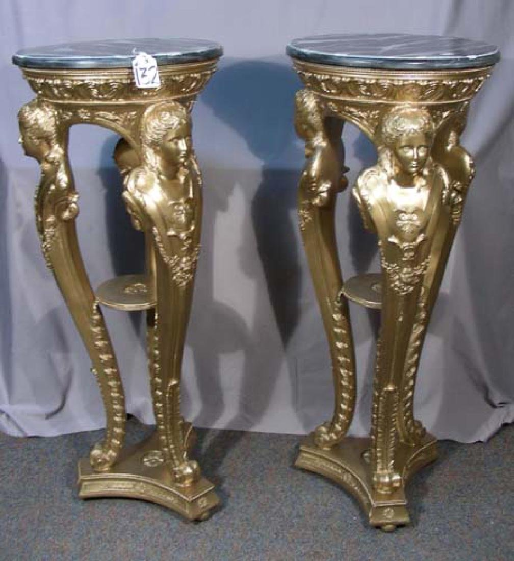 PAIR GILT AND FAUX MARBLE PEDESTALS