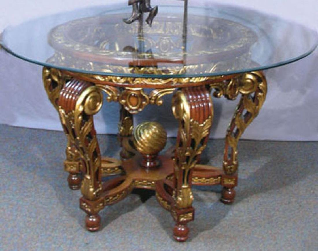 OUTSTANDING HAND CARVED WOODEN FOYER TABLE WITH GLASS