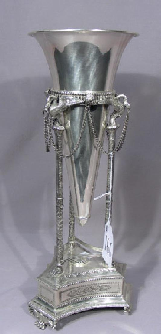 FINE HEAVY SILVER PLATED VASE WITH STAND