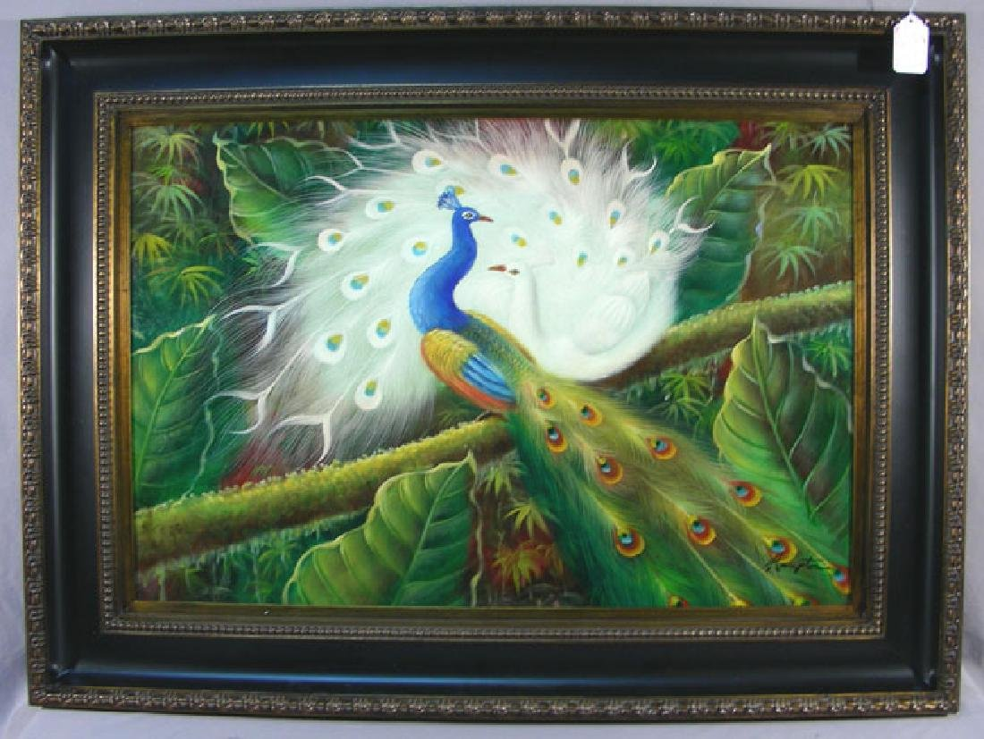 ORIGINAL OIL ON CANVAS:  TWO PEACOCKS
