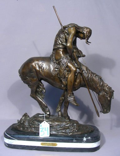 "BRONZE SCULPTURE ""END OF THE TRAIL"""