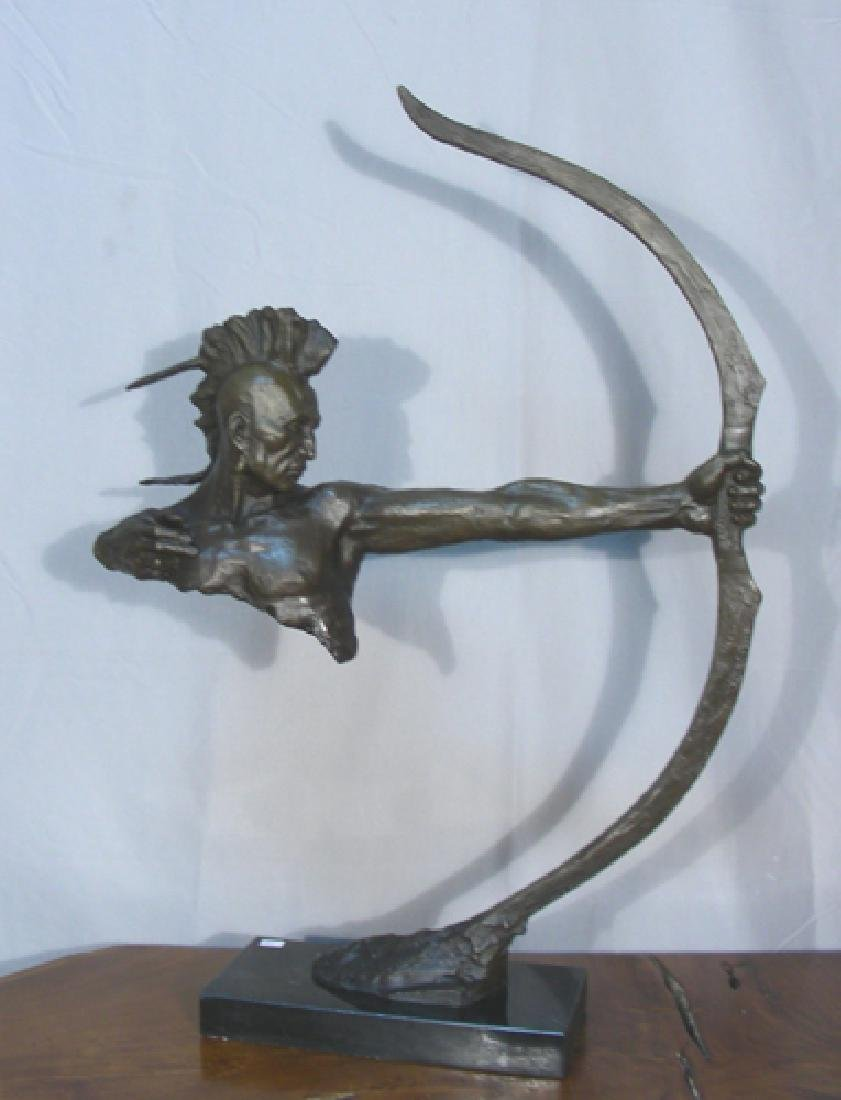 ABSTRACT BRONZE SCULPTURE OF INDIAN SHOOTER