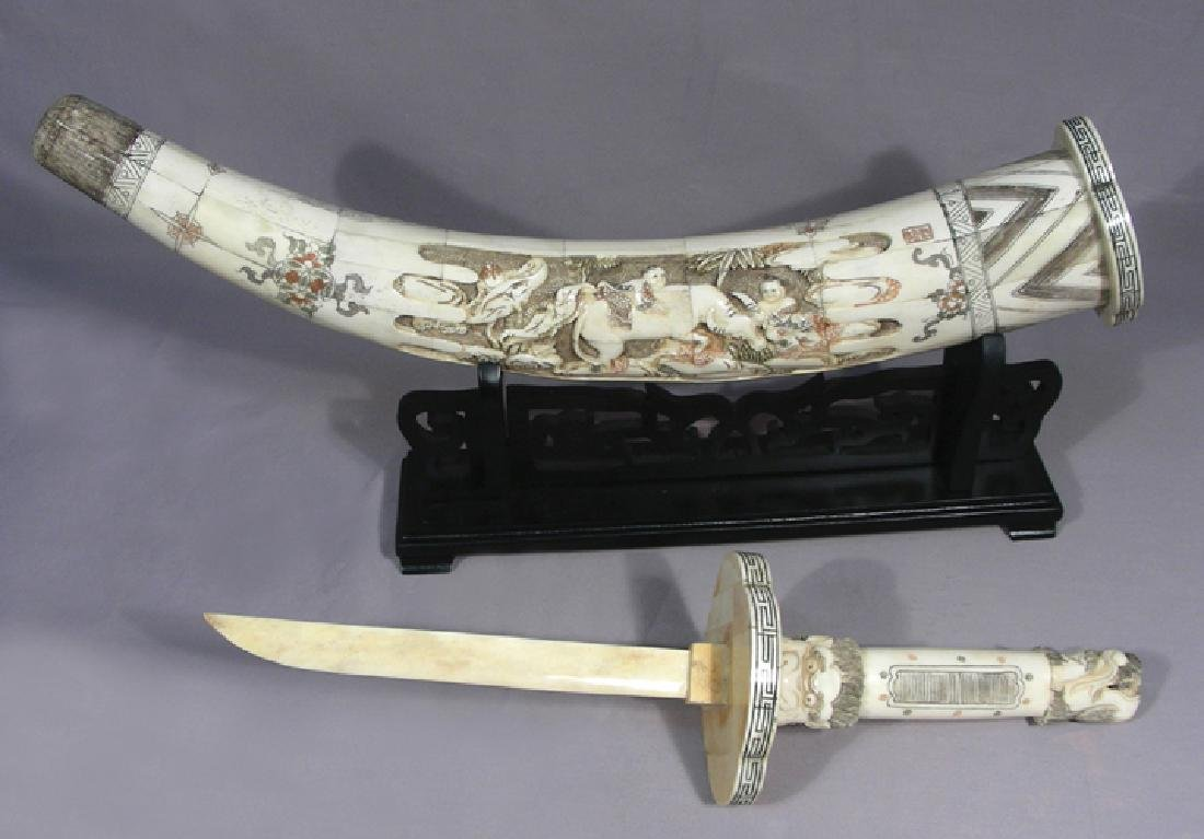 CHINESE HAND CARVED BONE DAGGER