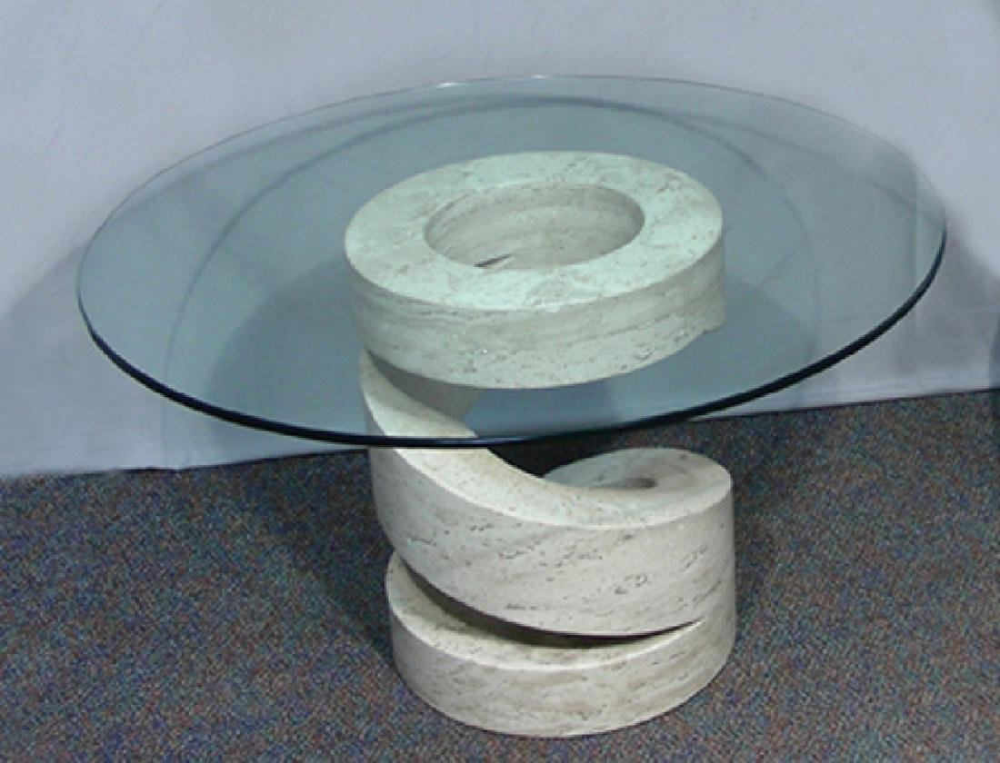 MODERN ITALIAN MARBLE TABLE WITH GLASS TOP