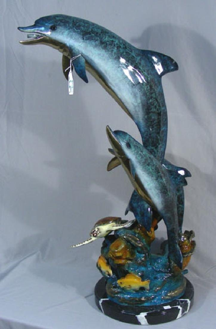 BRONZE SCULPTURE/FOUNTAIN OF DOLPHIN FAMILY