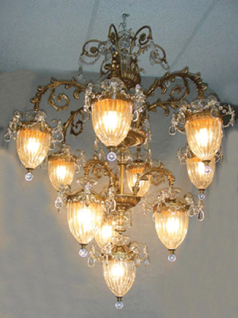 OUTSTANDING BACCARAT STYLE GILT AND CRYSTAL TEN LIGHT