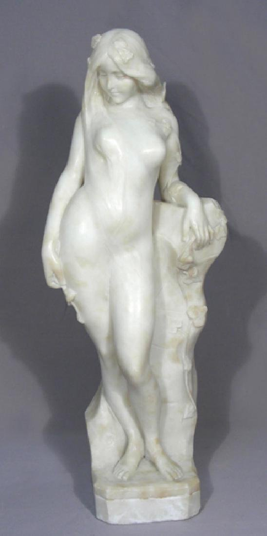 ANTIQUE FRENCH CARARRA MARBLE SCULPTURE OF WOMAN