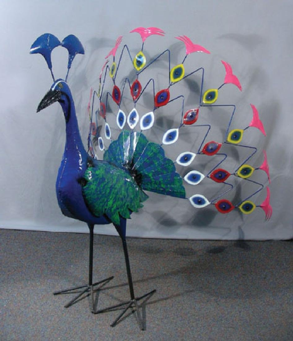 "LARGE CUSTOM MADE AND PAINTED METAL SCULPTURE ""PEACOCK"""
