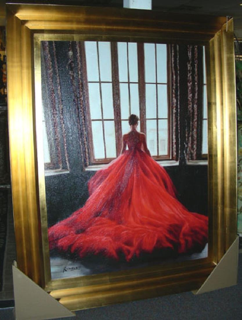 LARGE GICLEE OF WOMAN WEARING A RED DRESS