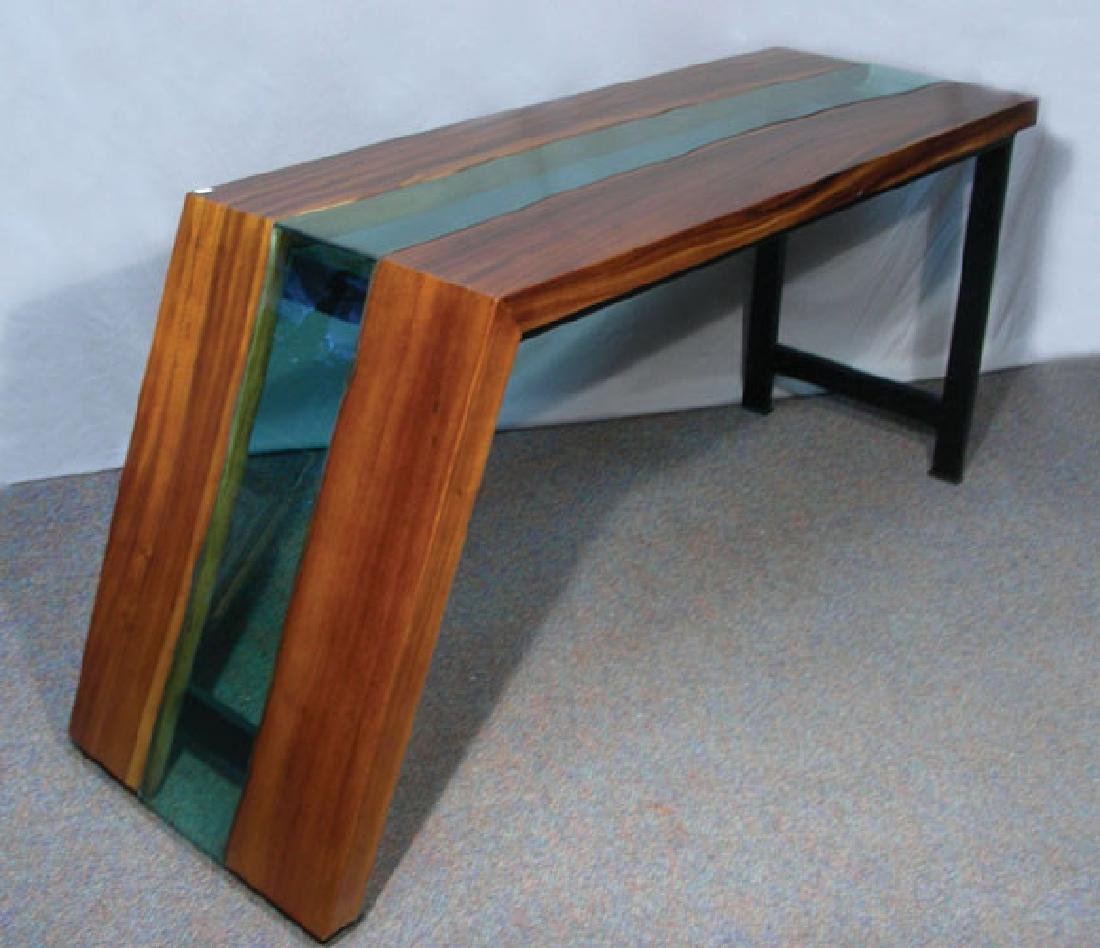 CUSTOM MADE METAL, WOOD AND GLASS CONSOLE TABLE