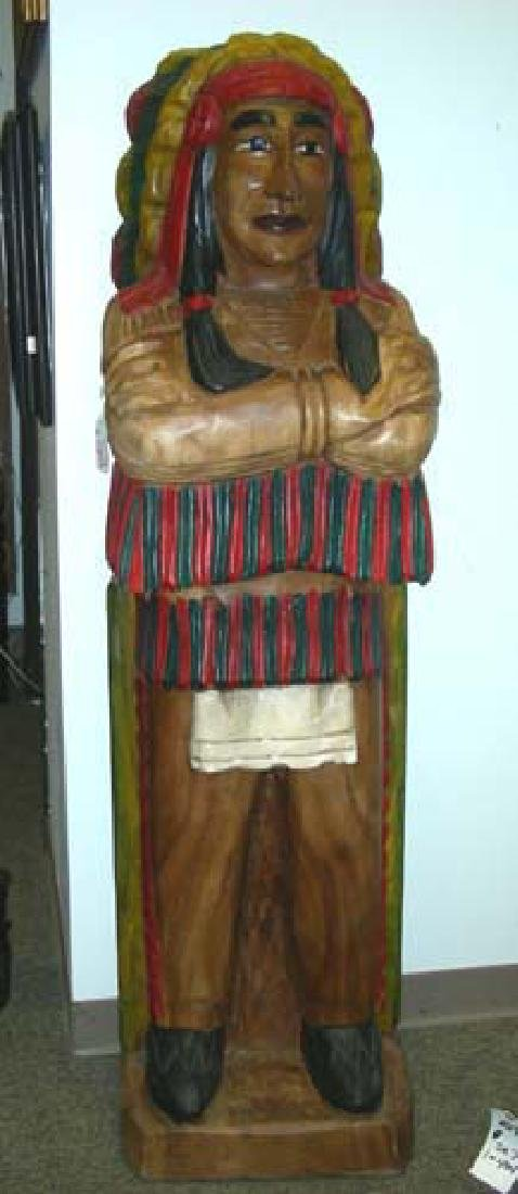 LARGE HAND CARVED AND PAINTED WOODEN CIGAR STORE INDIAN