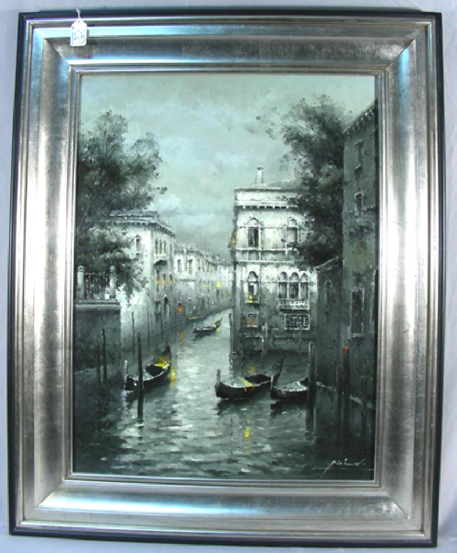 ORIGINAL OI ON CANVAS:  CANAL SCENE