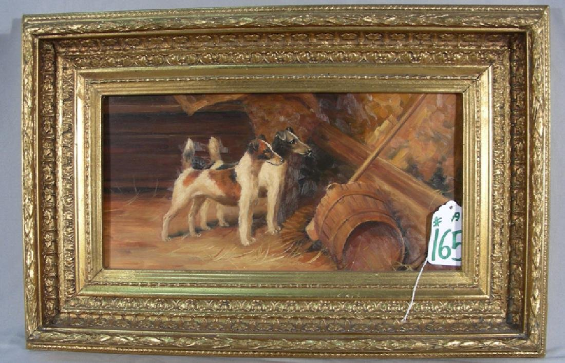 ORIGINAL OIL ON BOARD OF DOG