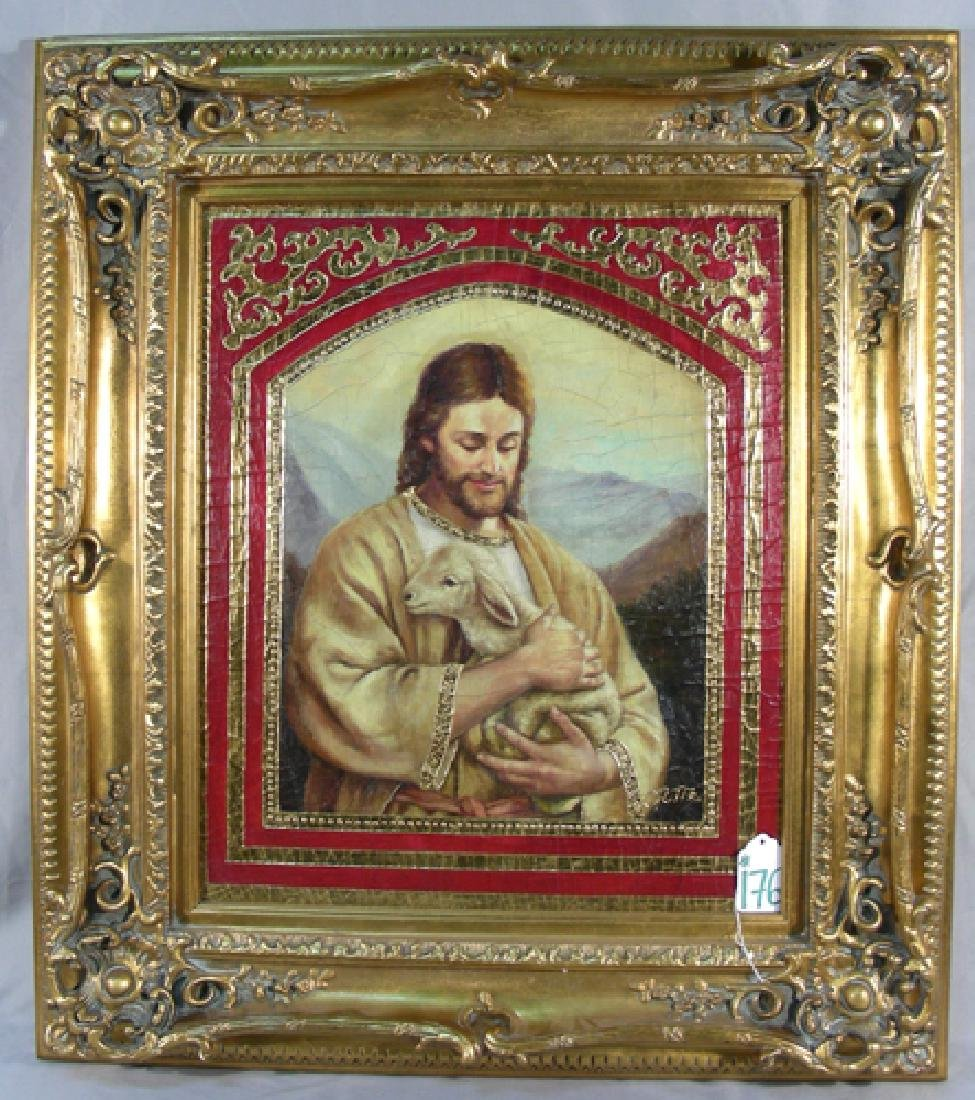 "ORIGINAL OIL ON CANVAS ""JESUS WITH LAMB"" BY ORTIZ"