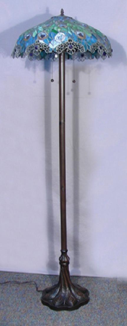 LEADED GLASS PEACOCK MOTIF FLOOR LAMP