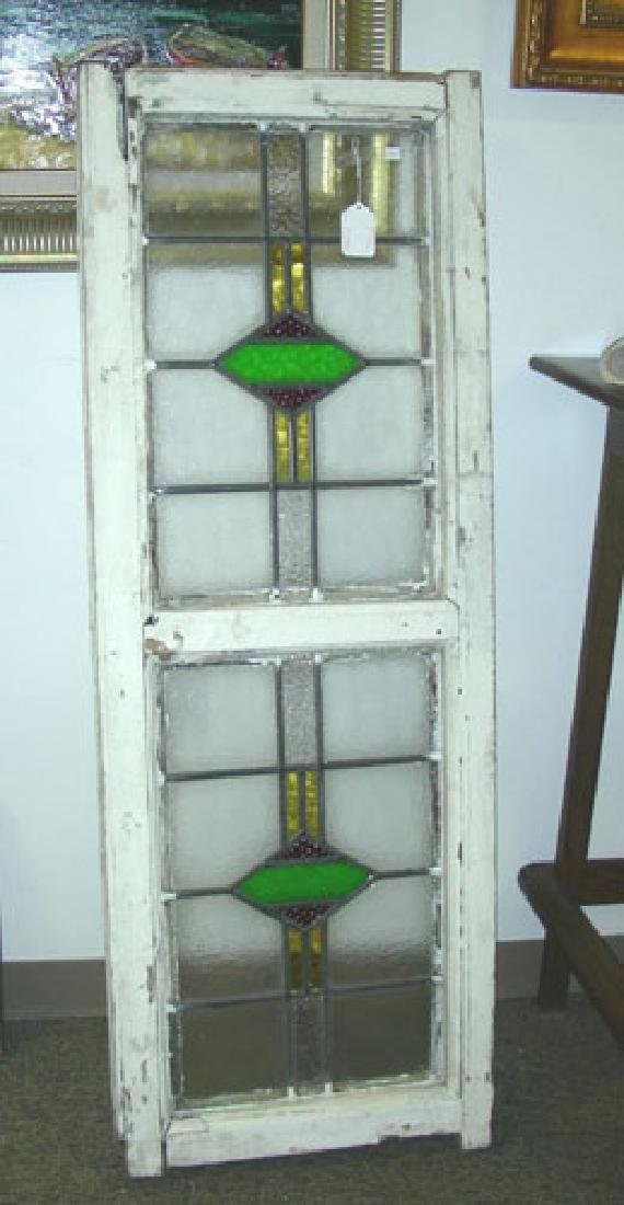 ANTIQUE STAINED GLASS WINDOW IN ORIGINAL FRAME