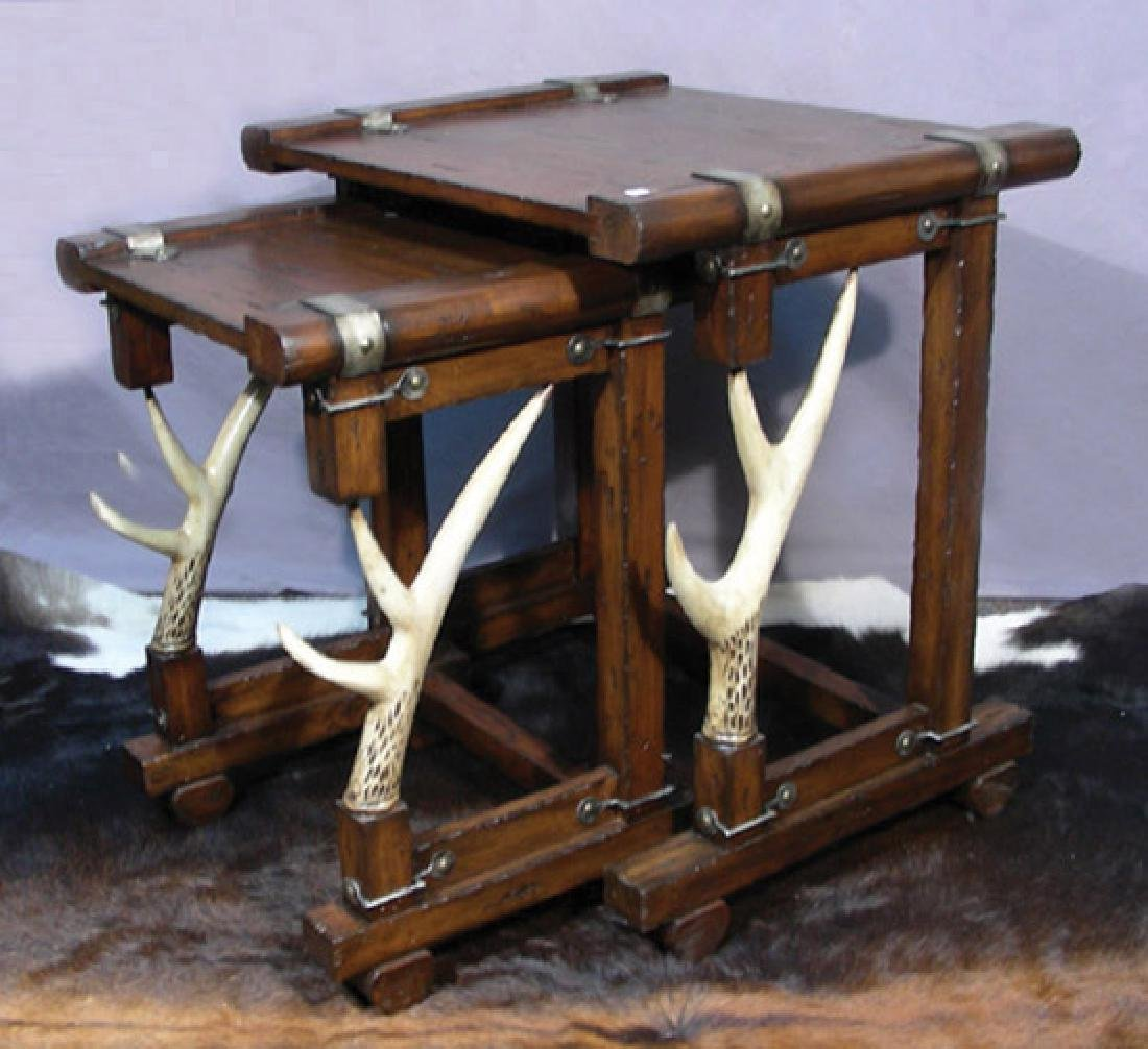 TWO UNUSUAL CARVED ANTLER MOTIF STACK TABLES