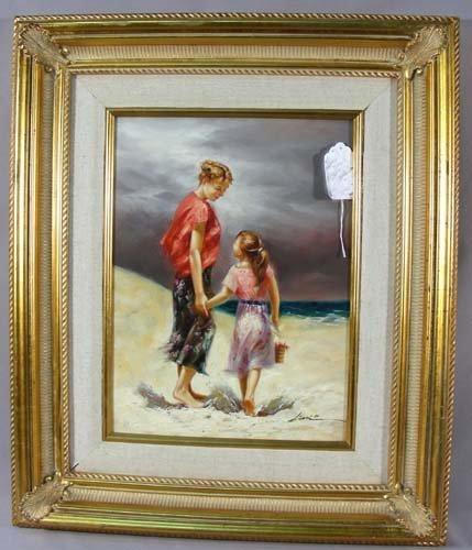 "ORIGINAL OIL ON CANVAS ""MOTHER & CHILD"""