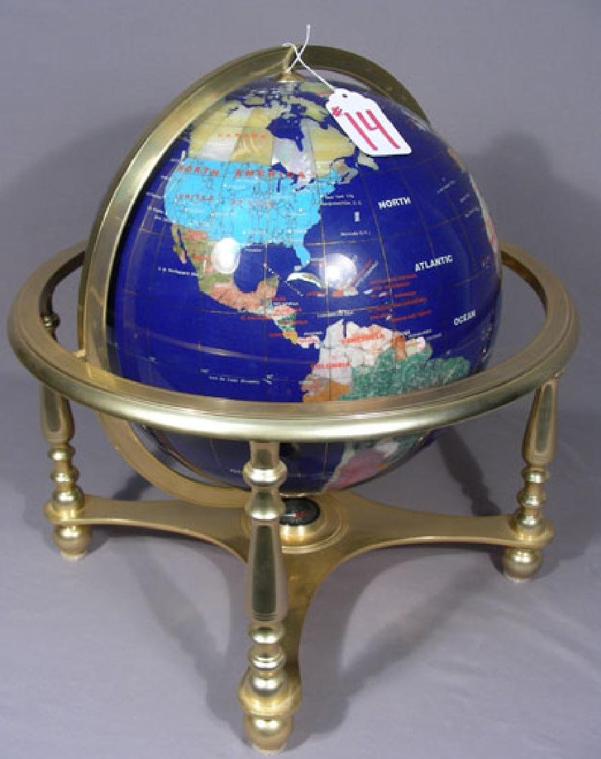 BRASS TABLE GLOBE WITH INSET HARDSTONE