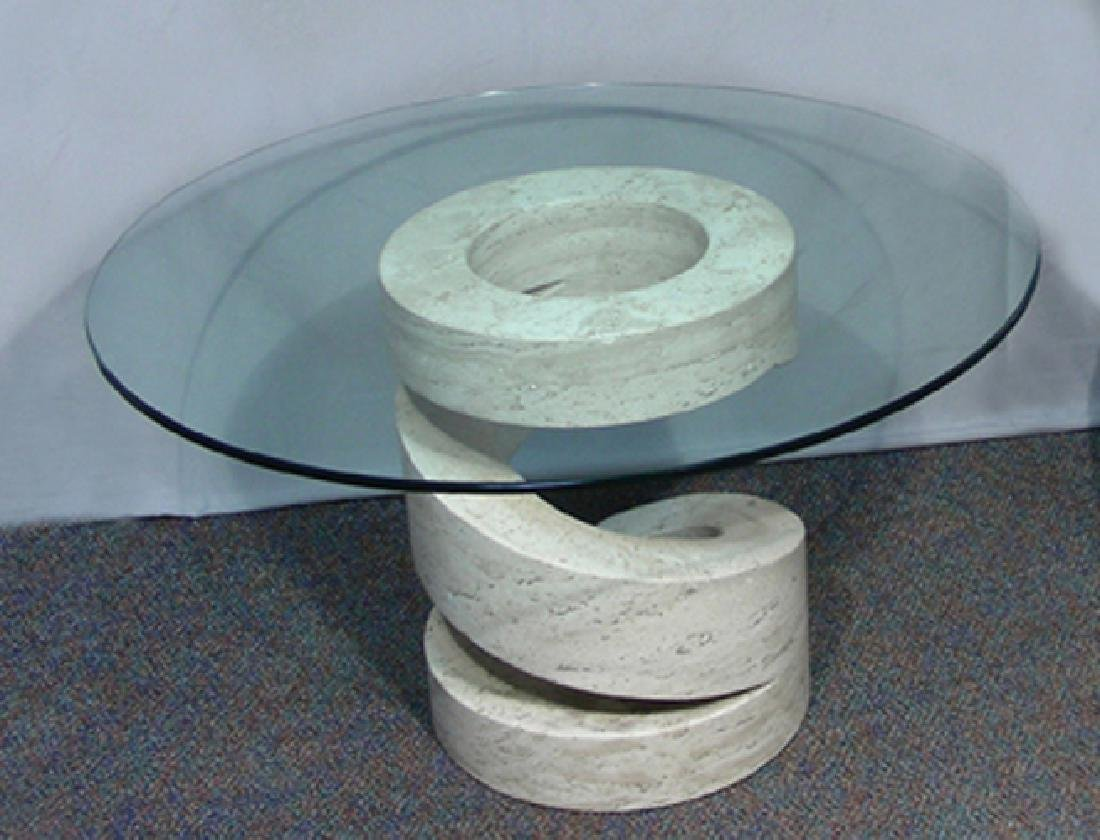 HEAVY ITALIAN MODERN MARBLE TABLE WITH GLASS TOP